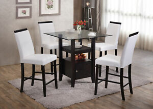 Kings Brand 5 Piece Counter Height Dining Set Table 4 Chairs White