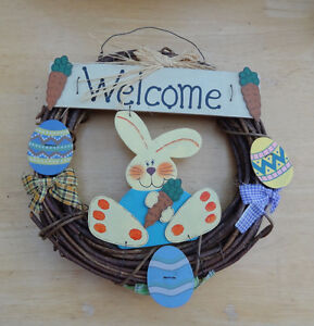 """WELCOME EASTER WREATH Grapevine with Wooden Rabbits and Eggs 13"""" CUTE $14.99"""