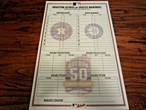 Astros vs Mariners 2015 Non Game Used Line Up Card 6 20 2015 50th Logo MLB
