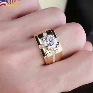 Luxury Men 14K Gold Plated Cocktail Party Ring White Sapphire AdjustableSize $3.99