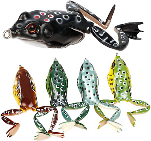 Topwater Frog Lures Soft Fishing Lure Kit with Tackle Box for Bass Pike Snakeh
