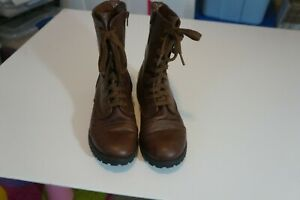 UNBRANDED=BROWN LACE UP ZIPPER SIDE BOOTS SIZE 8.5 M