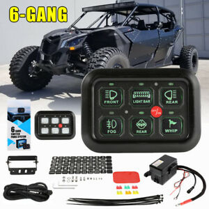 6 Gang Switch Panel Green Back Lights for Can Am Polaris RZR UTV ATV Accessories $99.59