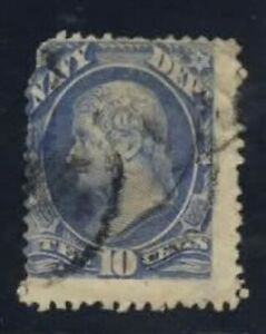 O40 Navy 10 cent Official Stamp used $6.00