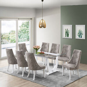 Kings Brand Elmer 9 Piece Glass Top Dining Set Table 8 Chairs White Gray