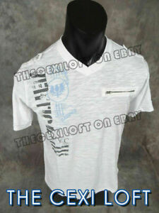 Mens Casual Sport T Shirt White with Graphic NYC Prints VERTICAL $19.95