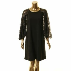 CALVIN KLEIN NEW Womens Black Sequined Cape Lace Overlay A Line Dress 8 TEDO $8.57