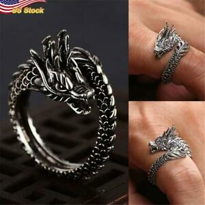 Stunning Open Ring 925 Silver Plated Dragon Vintage Jewelry Gift Adjustable $4.29