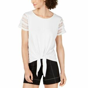 INC NEW Women#x27;s Lace sleeve Tie front Tee Casual Shirt Top TEDO