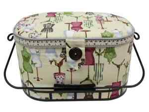St Jane Sewing Baskets Large Oval w Metal Handle $40.49