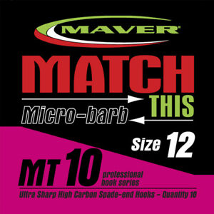 Maver match this MT10 eyed barbless hooks size 10 omly New