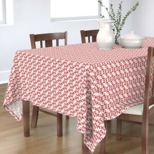 Tablecloth Hearts Puppy Dog Vintage Love Red Valentine Cotton Sateen