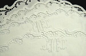 Madeira Embroidery Linen Placemats Set of 4 LMT Monograms Fine Vintage Handwork $49.95
