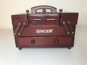 VINTAGE Singer Sewing Box Wooden Accordion Style With Thread Spools $55.00