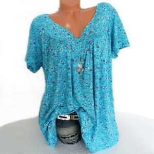 Women Short Sleeve T Shirt V Neck Summer Casual Floral Blouse Tops Tee Plus Size