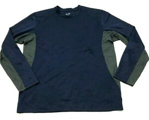 Champion Dry Fit Shirt Mens Size Large L Blue Gray Long Sleeve Tee Waffle Adult $18.77