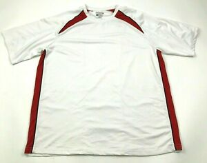 Izod Dry Fit Shirt Mens Size Extra Large XL White Red Short Sleeve Golf Tee $18.77