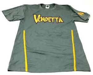 Vendetta Dry Fit Shirt Size Small S Adult Gray Yellow Short Sleeve Tee Adult Men $18.77
