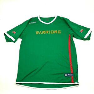 VINTAGE Warriors Soccer Jersey Size Large Green Dry Fit Shirt Short Sleeve Tee $24.77
