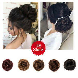 Messy Real Hair Accessories Headband Thick Ponytail Curly Circle 5 Colors USA $8.99