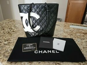 Authentic Vintage Chanel Cambon Medium Black Leather Tote Bag Quilted CC $1950.00