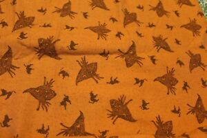 HALLOWEEN CATS AND CREATURESL QUILT SEWING COTTON FABRIC 1 YARD $6.50