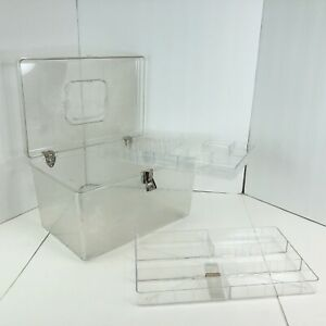 Vintage WIL HOLD Wilson Mfg Clear Plastic Sewing Box With 2 Trays USA $22.49