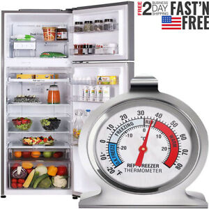 Refrigerator Freezer Thermometer Fridge DIAL Type Stainless Steel Hang Stand New