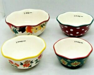 Pioneer Woman Timeless Floral 4 Pc Ceramic Floral Decorated Measuring Bowl Set