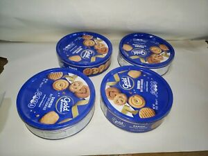 4 Tin Container Lot 12oz Butter Cookie Tins Sewing Organization Crafts $15.00