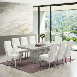 Kings Brand Furniture – Avilla 9 Piece Dining Set Table 8 Chairs Champagne