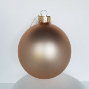 SET OF 6 GLASS MATTE SATIN FROSTED ROSE GOLD BALLS CHRISTMAS ORNAMENTS 80MM