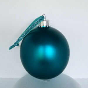 SET OF 6 GLASS MATTE SATIN FROSTED TEAL BLUE GREEN BALLS XMAS ORNAMENTS 80MM