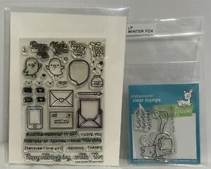Lawn Fawn WINTER FOX Love Letters Chicks Rubber Stamps Lot $15.98