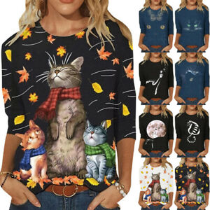 Women#x27;s Cat Print Tops Pullover Tops Ladies Long Sleeve Casual Blouse Tops Tee