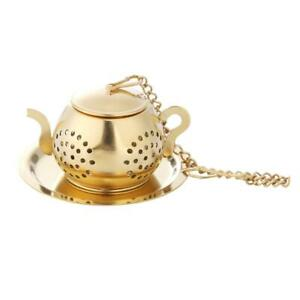 Gold Stainless Steel Tea Spoon Infuser Holder Filter Tea Strainer with Base #JD