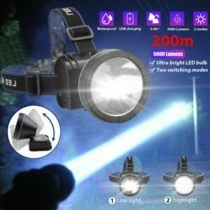 Super Bright LED Headlamp Rechargeable Headlight Torch 5000 Lumens for Hunting C $9.97