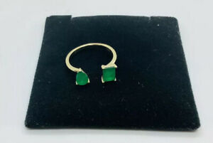 emerald sterling silver14k gold over open gemstone ring size 7 $50.40
