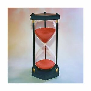 Large Retro Hourglass Timer 60 Minute Decorative Hexagon Wooden Frame Red Sand $34.22