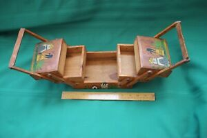 fold out ETHNIC MEXICAN ? SEWING STORAGE BOX W HANDLES PAINTED PEASANTS $28.00
