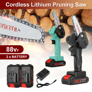 Cordless Electric Chain Saw Wood Cutter Mini One Hand Saw Woodworking w Battery