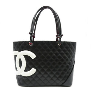 CHANEL Cambon Line Tote shoulder Bag leather Black White Used $1466.25