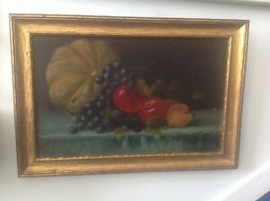 AMERICAN ANTIQUE SIGNED STILL LIFE OIL PAINTING FRAMED FALL HARVEST FRUITS 1885 $195.00