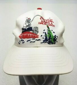 Vintage Mens Coca Cola Soda SnapBack Hat Cap White Always A Great Catch Fishing