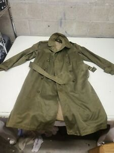 Vintage Army Military Field Trench Coat Jacket Army Mens Med $48.00