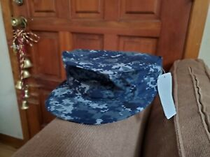 US Navy NWU Type I COVER Blue Digital Size 7 NEW W TAGS $3.00