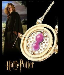 NEW 24K Gold Plated Hermione Time Turner Pink Sand Movable Hourglass Necklace $19.99