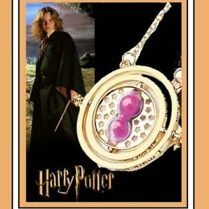 24K Gold Plated Hermione Time Turner Pink Sand Movable Hourglass Necklace NEW $19.99