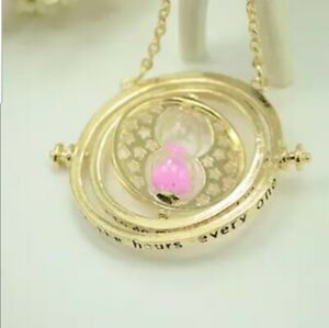 Hermione Time Turner Pink Sand Gold Plated Movable Hourglass Necklace Cosplay $19.99
