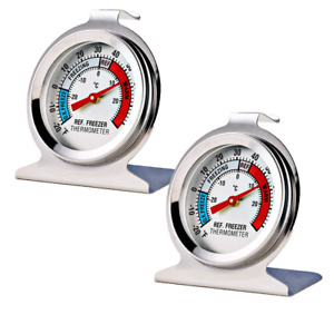 2 Pack Refrigerator Freezer Thermometer Large Dial Thermometer